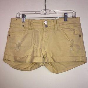 Pants - Yellow jean shorts